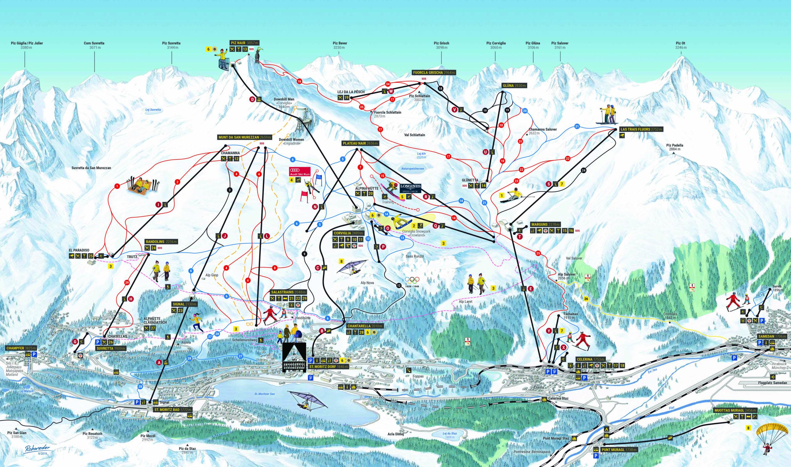 Slope Map St Moritz Corviglia